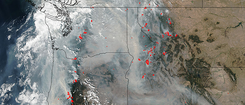 Satellite image showing the Pacific Northwest smoke and burning areas